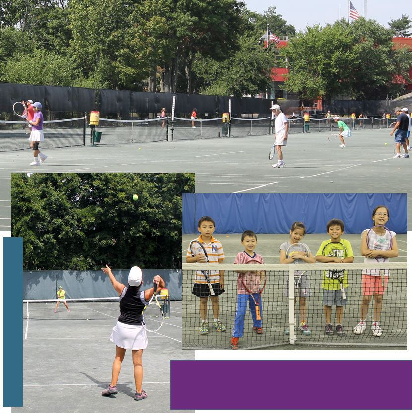 Tennis photo montage of 3 photos featuring young and adult tennis players