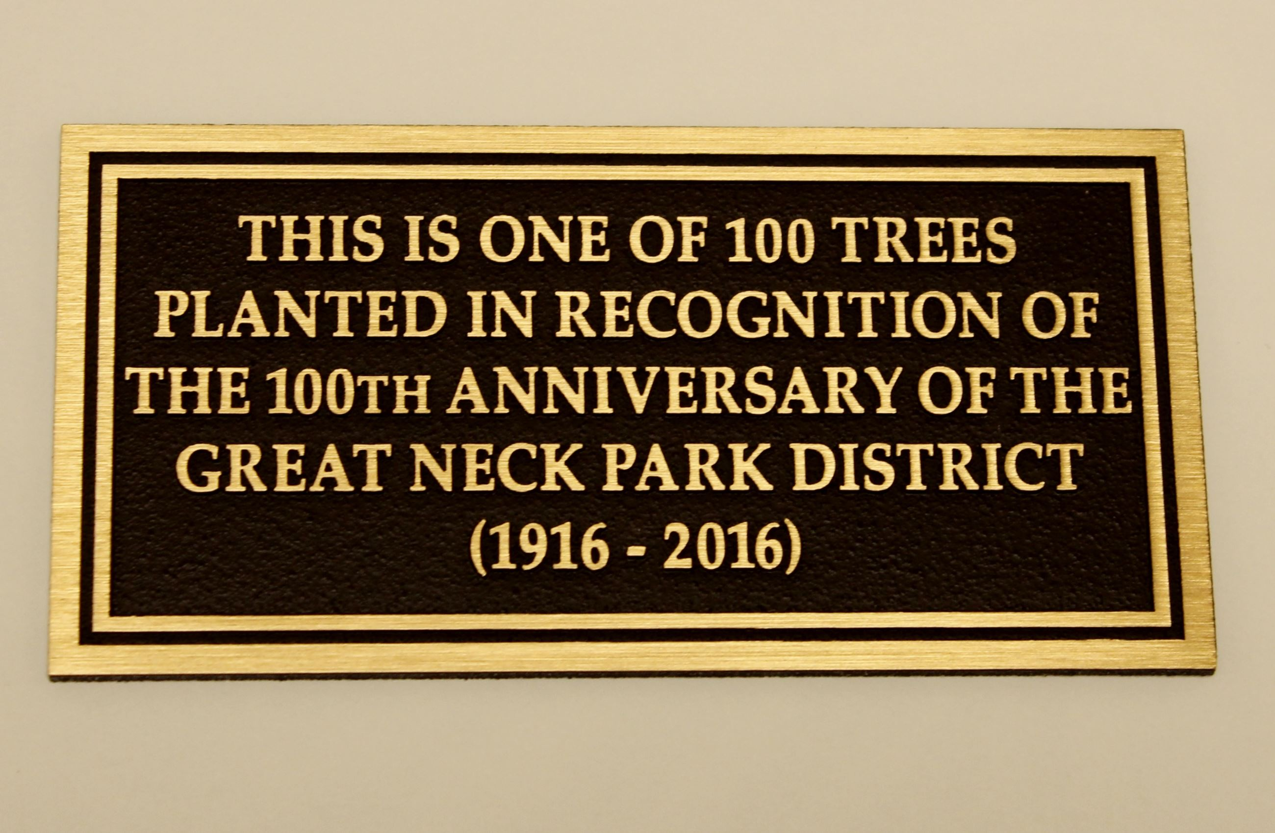 100 trees for 100 years plaque